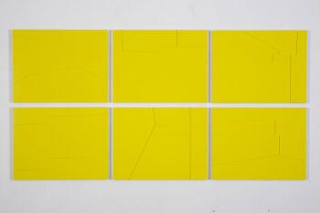 Verschoven Geel I t/m VI - 46 x 60 cm per deel. (Foto Hein Hage)  - lijnen in reliëf uit perspex, onderlaag dibond - 2007 - V, VI, I, II, III, IV
